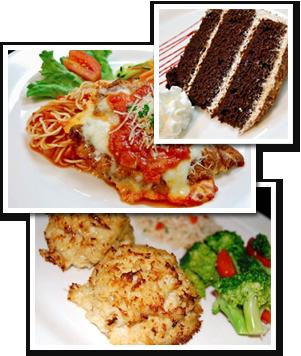 crab cakes, pasta and dessert